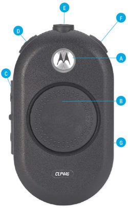Motorola CLP446 - popis ovládacích prvků vysílačky